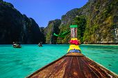 Traditional Longtail Boat In Maya Bay On Koh Phi Phi Leh Island, Krabi, Thailand