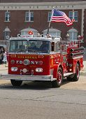 Fire truck on display at the Antique Automobile Association of Brooklyn annual Spring Car Show