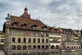 Embankment Of Reuss River In Lucerne