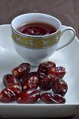Arabian snack, date with black tea