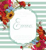 stock photo of bridal shower  - Bridal shower invitation card with flowers vector eps10 - JPG