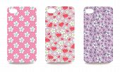 Mobile Phone Cover Back Set With Floral Pattern