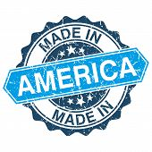 Made In America Vintage Stamp Isolated On White Background