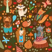 Seamless Pattern With Forest Animals. Bear, Fox, Hedgehog, Raccoon, Wolf,snail,mosquito