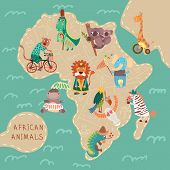Map Of Africa With Cute Animals In Vector. African Animals Set: Jaguar, Giraffe, Hippopotamus, Iguan
