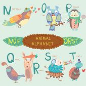 Very Cute Alphabet. N, O, P, Q, R, S, T Letters. Nightingale, Owl, Penguin, Quail, Rabbit, Sheep, Tu
