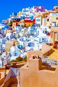 Santorini Oia Greece, view of pretty colorful houses. The awesome landscape of Santorini Traditional