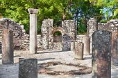 Remains of the ancient Baptistery dated from the 6th century at Butrint, Albania.