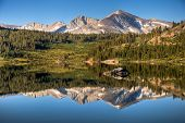 image of mammoth  - A reflection of Mammoth Peak and the Kuna Crest on Tioga Lake Yosemite National Park California - JPG