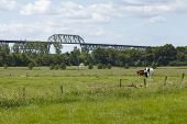 Hochdonn - Railroad Bridge Over The Kiel Canal In The Landscape