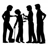 Editable vector silhouettes of older boys bullying a younger boy with all figures as separate object