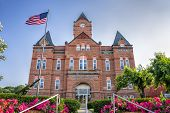 stock photo of nebraska  - Cass County Courthouse in sunny Plattsmouth Nebraska - JPG
