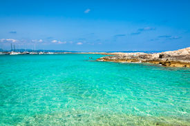 picture of tanga  - Tourists in Illetes beach Formentera island Mediterranean sea  - JPG