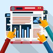 Web site seo analytics charts on screen of PC