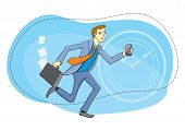 pic of running-late  - Businessman with briefcase and phone in hand running about their business - JPG