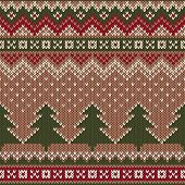 Seamless Winter Holiday Pattern On The Wool Knitted Texture. Christmas And New Year Background