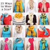 15 ways to tie scarves. Woman wearing scarves