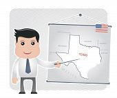 Man with a pointer points to a map of TEXAS