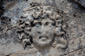 picture of medusa  - Greek mithological female monster Medusa on the tomb sarcophagus in Necropolis Turkey - JPG