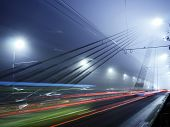 Vansu Bridge Lights In Fog ,riga