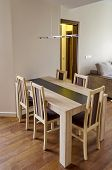 Dining-table in living room - renovated apartment