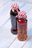 Jars With Cherry Liqueur.