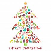 Christmas,new year icons in spurce tree shape,Doodles