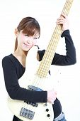 young Japanese woman with 5strings bass