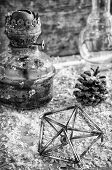 old kerosene lamp,Christmas toys,pine cones