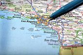 Closeup map of city Los Angeles for travel destination driving
