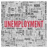 Close up Red UNEMPLOYMENT Text at the Center of Word Tag Cloud on White Background.