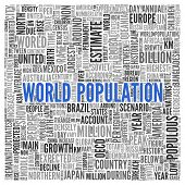 Close up Blue WORLD POPULATION Text at the Center of Word Tag Cloud on White Background.