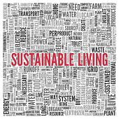 Close up Red SUSTAINABLE LIVING Text at the Center of Word Tag Cloud on White Background.