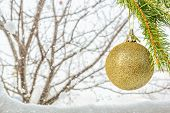Branch With Christmas Ball On A Winter Background