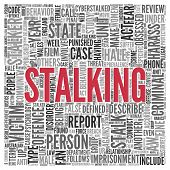 Close up Red STALKING Text at the Center of Word Tag Cloud on White Background.