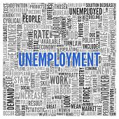 Close up Blue UNEMPLOYMENT Text at the Center of Word Tag Cloud on White Background.