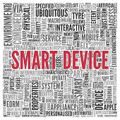 Close up Red SMART DEVICE Text at the Center of Word Tag Cloud on White Background.