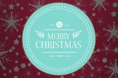 Banner and logo saying merry christmas against snowflake wallpaper pattern