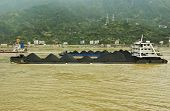stock photo of coal barge  - Coal barges on the Yangtze river in Central China - JPG