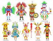 A set of Ancient Aztec gods