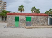 Small building on the beach