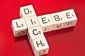 Love You In German Written On Wooden Dice