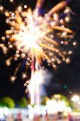 Fireworks In Night Fun Fair Carnival
