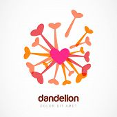 Abstract Heart Dandelion Flower Symbol. Vector Logo Template. Design Concept For Spa, Beauty Salon,