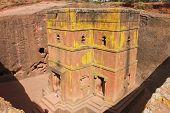 Unique monolithic rock-hewn Church of St. George (Bete Giyorgis) UNESCO World heritage Lalibela Ethi