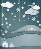 Night Winter Background Of Snowflakes Trees House Stickers