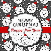 Polar bears in Santa Claus hats on dark card with frame and ribbon with Christmas wishes