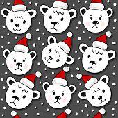 Polar bears in Santa Claus hats Christmas winter holidays seamless pattern on dark