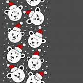 Polar bears in Santa Claus hats Christmas winter holidays seamless vertical border on dark