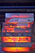picture of ferrous metal  - Stack of steel plates inside of plant - JPG
